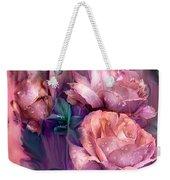 Raindrops On Peach Roses Weekender Tote Bag