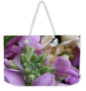 Raindrops On Purple And White Flowers Weekender Tote Bag