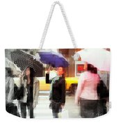 Rainy Day In The City - Blue Pink And Polka Dots Weekender Tote Bag