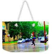 Rainy Days And Mondays Girl Running With The Blue Umbrella Montreal Art City Scenes Carole Spandau Weekender Tote Bag