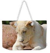 Rare Female White Lion Weekender Tote Bag