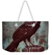 Raven Perched On A Post Weekender Tote Bag