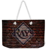 Rays Baseball Graffiti On Brick  Weekender Tote Bag by Movie Poster Prints