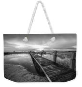 Reaching Into Sunset In Black And White Weekender Tote Bag