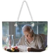 Reading The Sunday News Paper Weekender Tote Bag