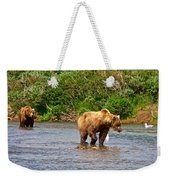 Ready To Pounce On A Salmon  In The Moraine River In Katmai National Preserve-ak Weekender Tote Bag
