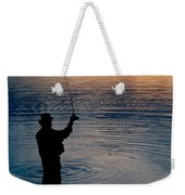 Rear View Of Fly-fisherman Silhouetted Weekender Tote Bag