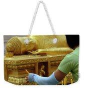 Reclining Buddha Prayer Candles Weekender Tote Bag