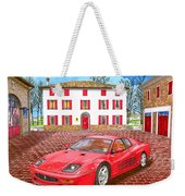 Enzo Ferrari S Garage With 1995 Ferrari 512m Weekender Tote Bag