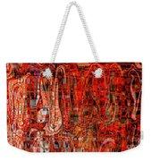 Red Abstract Panel Weekender Tote Bag by Carol Groenen
