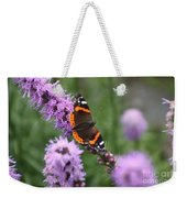 Red Admiral Butterfly On A Blazing Star Weekender Tote Bag