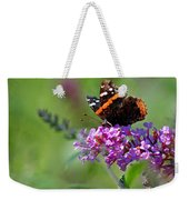 Red Admiral Butterfly On Butterfly Bush Weekender Tote Bag