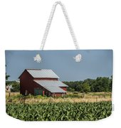 Red Amish Barn And Corn Fields Weekender Tote Bag