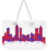 Red And Blue Art Print Of The Skyline Of Atlanta Georgia Usa Weekender Tote Bag