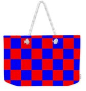 Red And Blue Checkered Flag Weekender Tote Bag