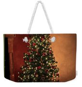 Red And Gold Christmas Tree With Caption Weekender Tote Bag