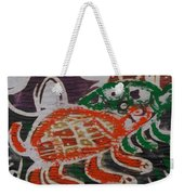 Red And Green Tortoise On Their Way To Bush Weekender Tote Bag