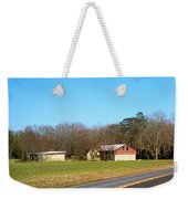 Red And White Barn With Trees Weekender Tote Bag