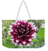 Red And White Dahlia Weekender Tote Bag