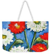 Red And White Flowers With A Blue Sky Weekender Tote Bag