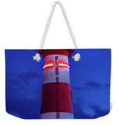 Red And White Lighthouse Shows Neon Weekender Tote Bag