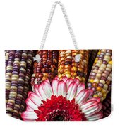 Red And White Mum With Indian Corn Weekender Tote Bag