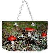 Red And White Mushrooms Weekender Tote Bag