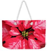 Red And White Poinsettia Weekender Tote Bag