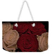 Red And White Roses Color Engraved Weekender Tote Bag