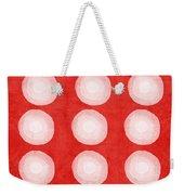 Red And White Shibori Circles Weekender Tote Bag