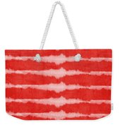 Red And White Shibori Design Weekender Tote Bag by Linda Woods