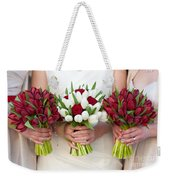 Red And White Tulip And Rose Wedding Bouquets Weekender Tote Bag