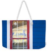 Red And White Window In Blue Wall Weekender Tote Bag
