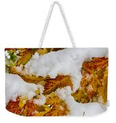 Red Autumn Maple Leaves With Fresh Fallen Snow Weekender Tote Bag