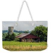 Red Barn And Bales Of Hay Weekender Tote Bag