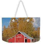 Red Barn And Fall Colors Weekender Tote Bag