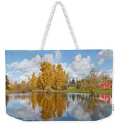 Red Barn And Fall Colors Reflected In A Pond Weekender Tote Bag