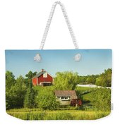 Red Barn And Water Mill On Farm In Maine Weekender Tote Bag
