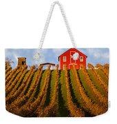 Red Barn In Autumn Vineyards Weekender Tote Bag