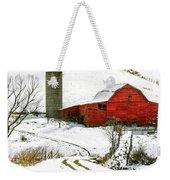 Red Barn In Snow Weekender Tote Bag