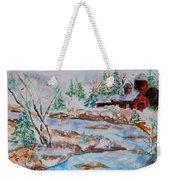Red Barn In Winter Weekender Tote Bag