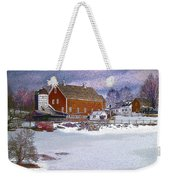 Red Barn In Winter Weekender Tote Bag