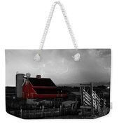Red Barn On The Farm And Lightning Thunderstorm Bwsc Weekender Tote Bag by James BO  Insogna