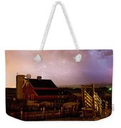 Red Barn On The Farm And Lightning Thunderstorm Weekender Tote Bag by James BO  Insogna