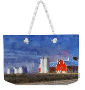 Red Barn With Silos Photo Art 02 Weekender Tote Bag