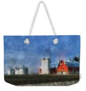 Red Barn With Silos Photo Art 03 Weekender Tote Bag
