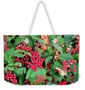 Red Berries And Green Leaves Weekender Tote Bag