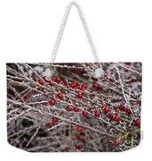 Red Berries Covered In Snow Weekender Tote Bag
