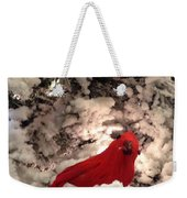 Red Bird In A Snow Covered Tree Weekender Tote Bag