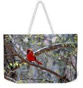 Red Bird In Dogwood Weekender Tote Bag